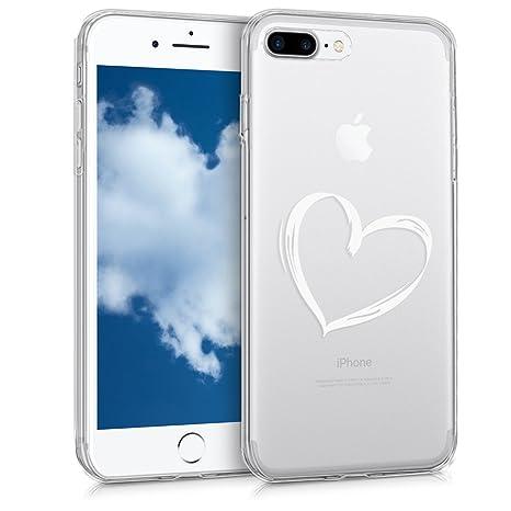 kwmobile Funda para Apple iPhone 7 Plus / 8 Plus - Carcasa de [TPU] para móvil y diseño Dibujo de corazón en [Blanco/Transparente]