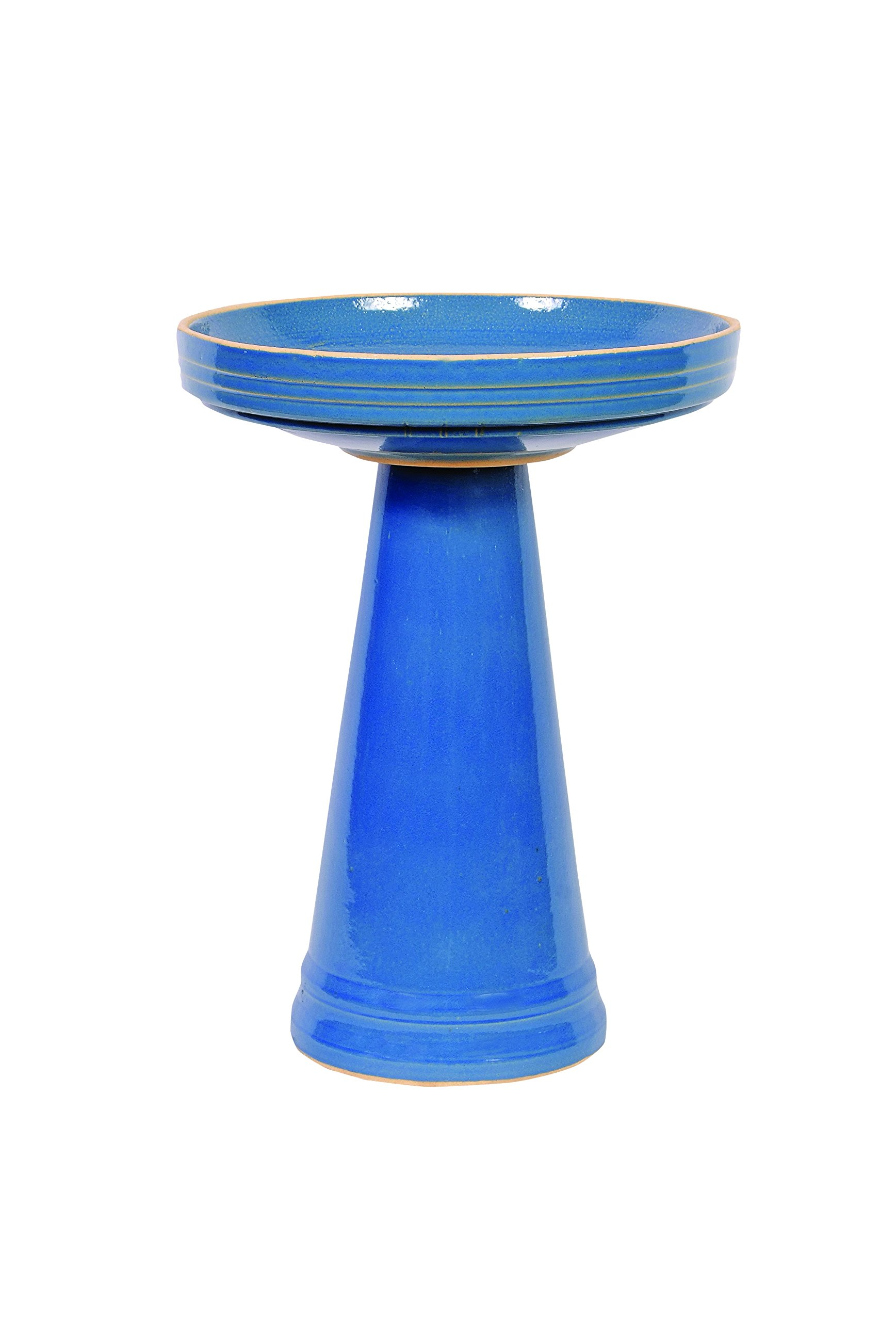 Birds Choice Burley Clay Simple Elegance Bellflower Blue Bird Bath, Medium