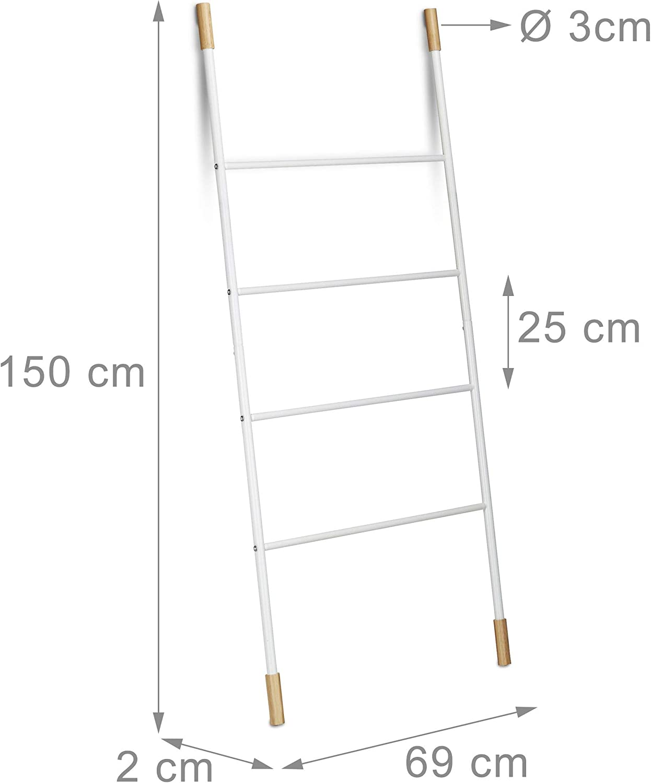 Relaxdays Escalera Decorativa Multiusos, Bambú-Hierro, Blanco, 150 x 70 x 2 cm: Amazon.es: Hogar