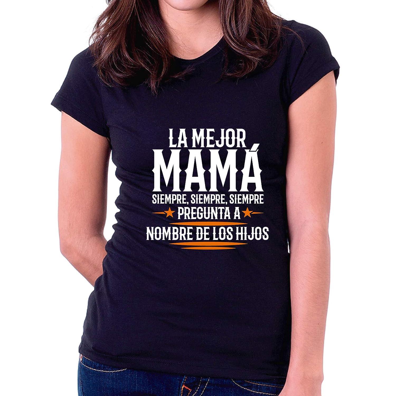 Custom Vinyl Camiseta Dia de la Madre La Mejor Mama Siempre Blanca, M - Entallada