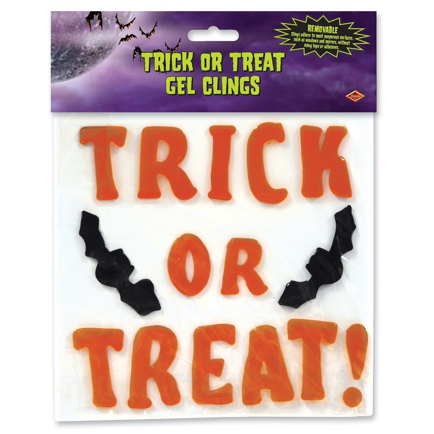 Beistle Trick or Treat Gel Clings 7-1//2-Inch by 7-1//2-Inch The Beistle Company 01917