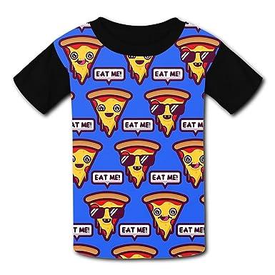 Round Collar Polyester Fiber Classic Short Sleeve Top Shirt For Boys Girls,Print Eat Me