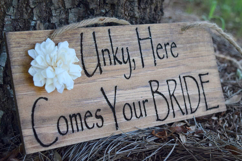Wedding Decorations Ring Bearer Sign Rustic Wedding Decor Here ...