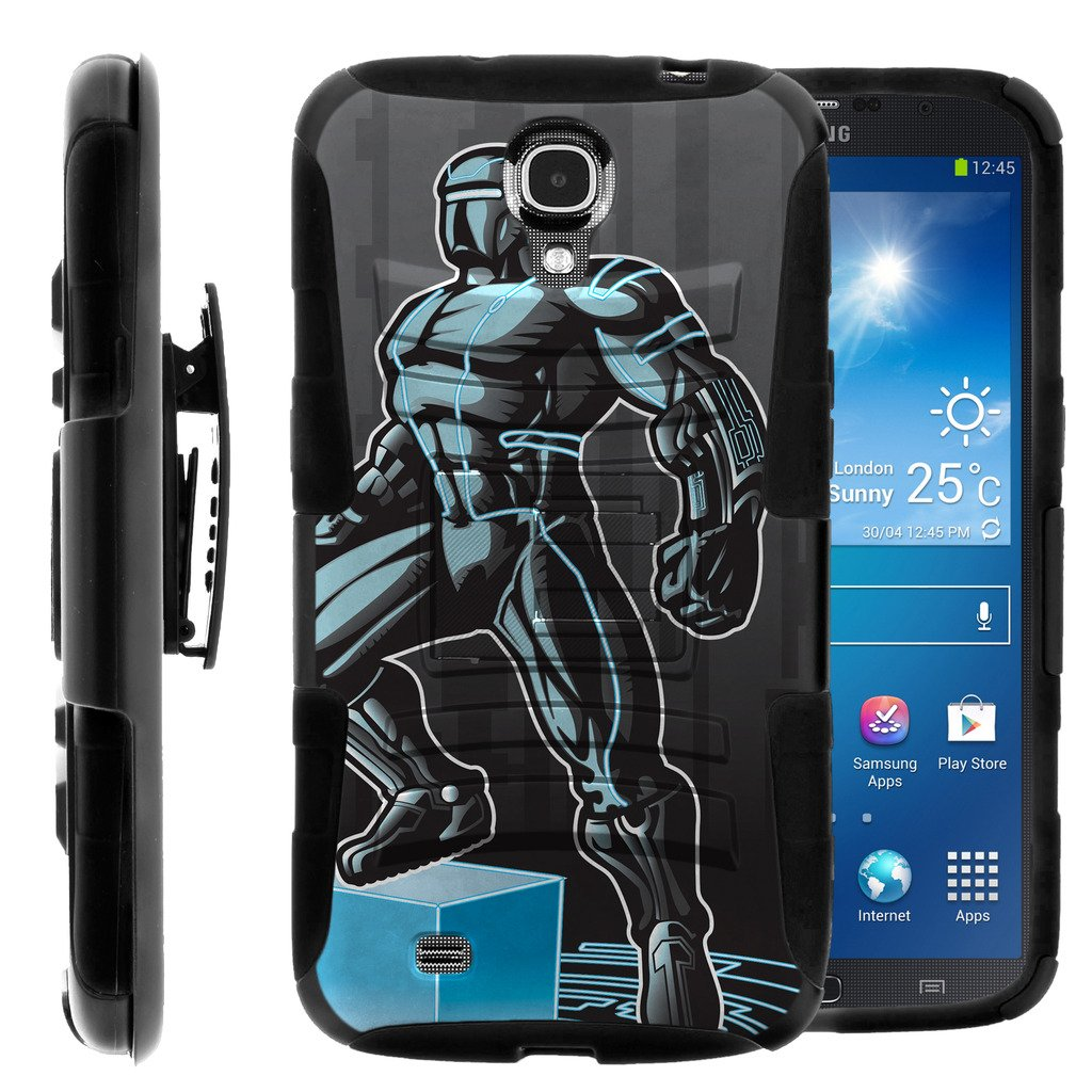 TurtleArmor   Compatible for Samsung Galaxy Mega Case   Mega 6.3 Case [Hyper Shock] Armor Rugged Hybrid Cover Stand Impact Rubber Belt Clip Robot Android Design - Android Man