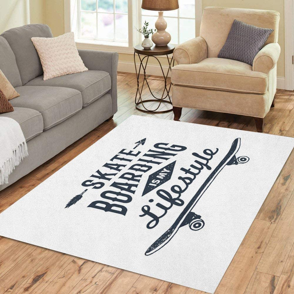 Amazon Com Pinbeam Area Rug 90s Badge Skateboard And Skateboarding Is My Lifestyle Home Decor Floor Rug 2 X 3 Carpet Kitchen Dining