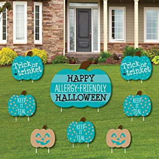 product image for Big Dot of Happiness Teal Pumpkin - Yard Sign and Outdoor Lawn Decorations - Halloween Allergy Friendly Trick or Trinket Yard Signs - Set of 8