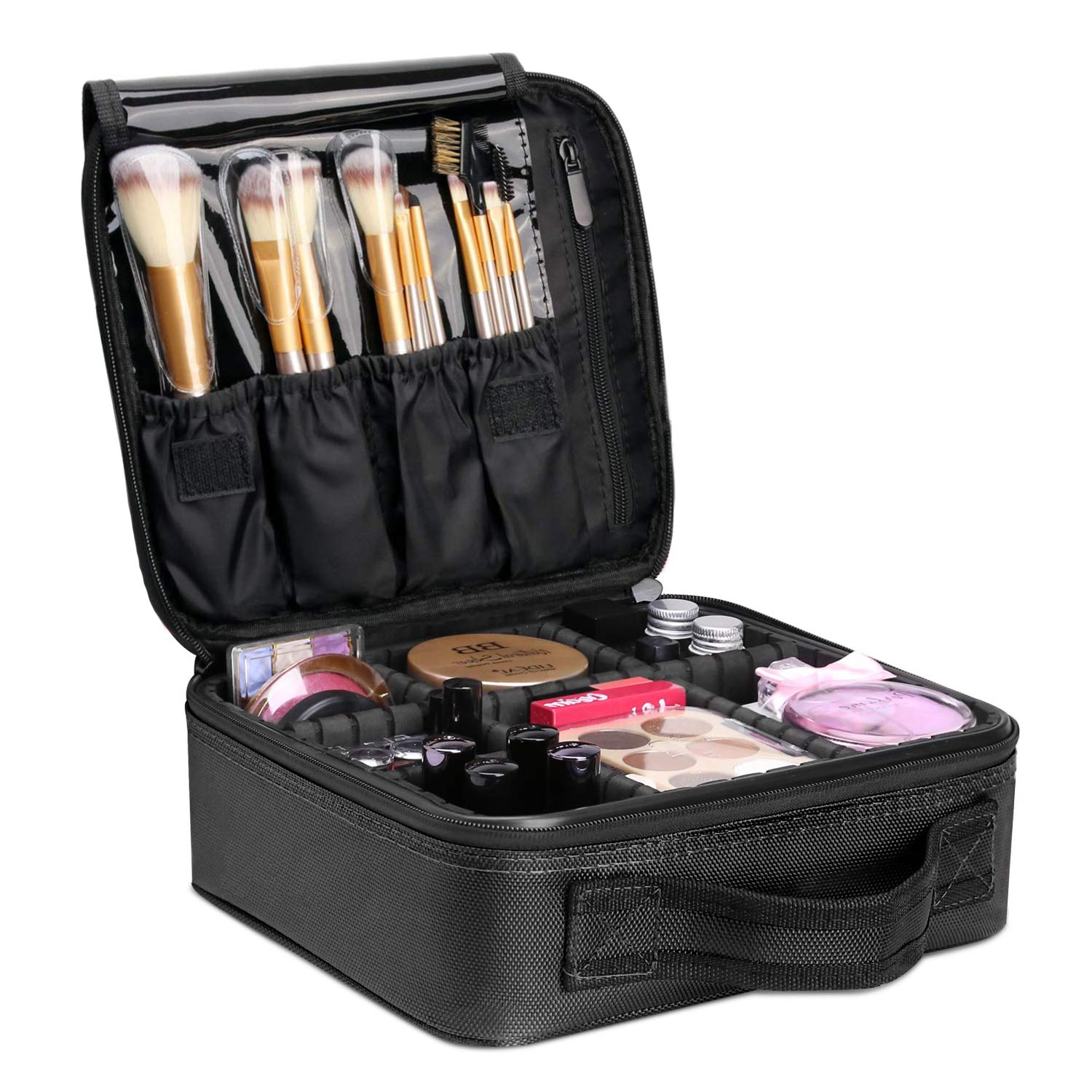 YZEECOL Travel Makeup Case Storage Bag Cosmetic Bag Train Organizer Portable Case Mini Black