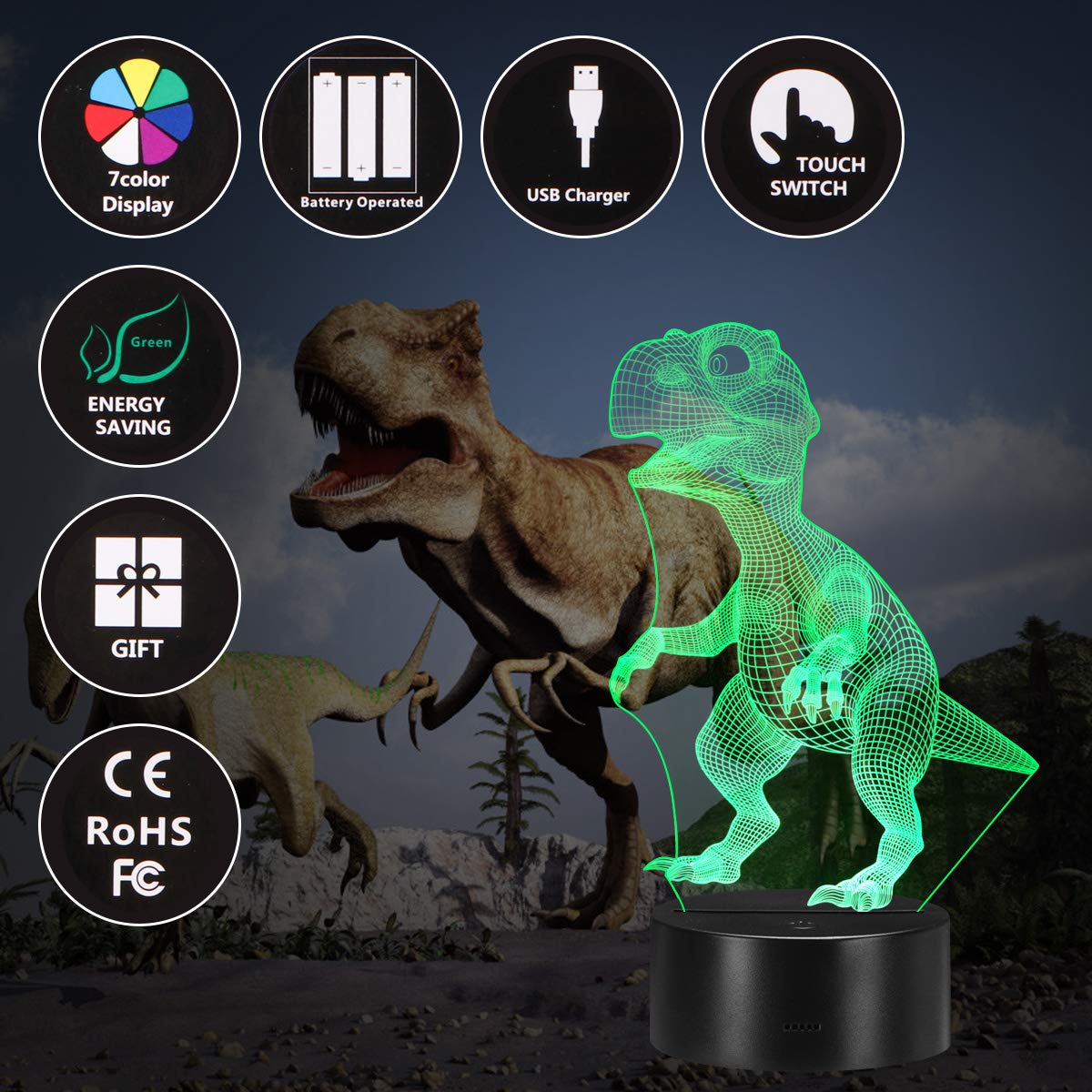 Holybo Kids Boys Toys,3D Night Light Dinosaur Toys for Boys//Kids//Chlidren Bedroom Lamps,Brithday//Xams Gifts Dinosaur Night Light with 7 Colors Changing. T-Rex Baby