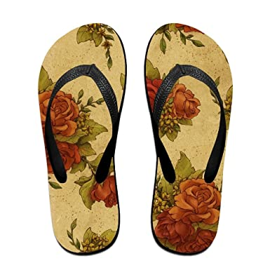 202db7b8b Amazon.com: Fashion Beach Flip Flops Floral Rose Art Pattern Unisex  Lightweight Home Sandals Slippers: Clothing