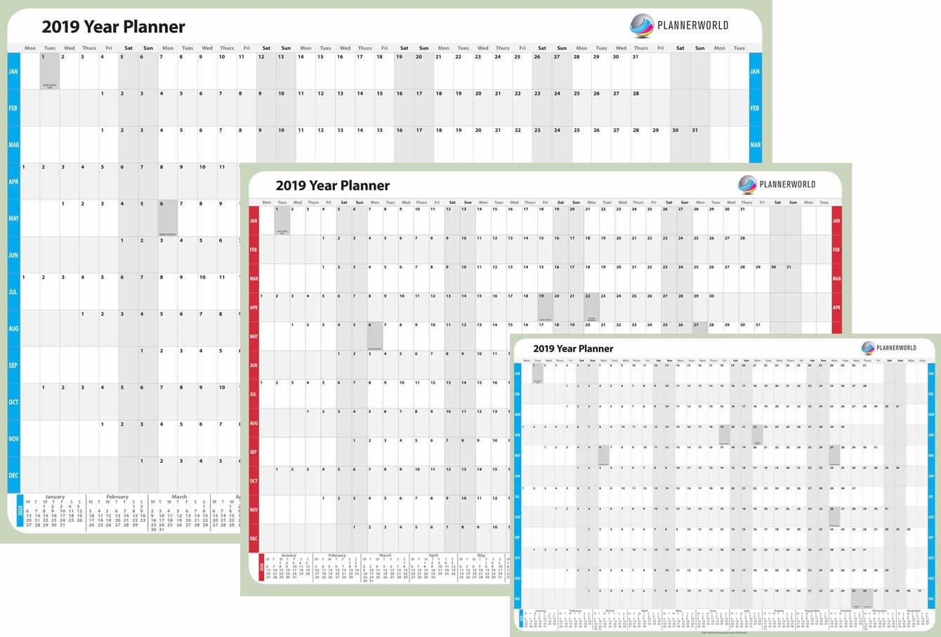 Blue, A1 Folded A1 Size Laminated 2019 Wall Planner