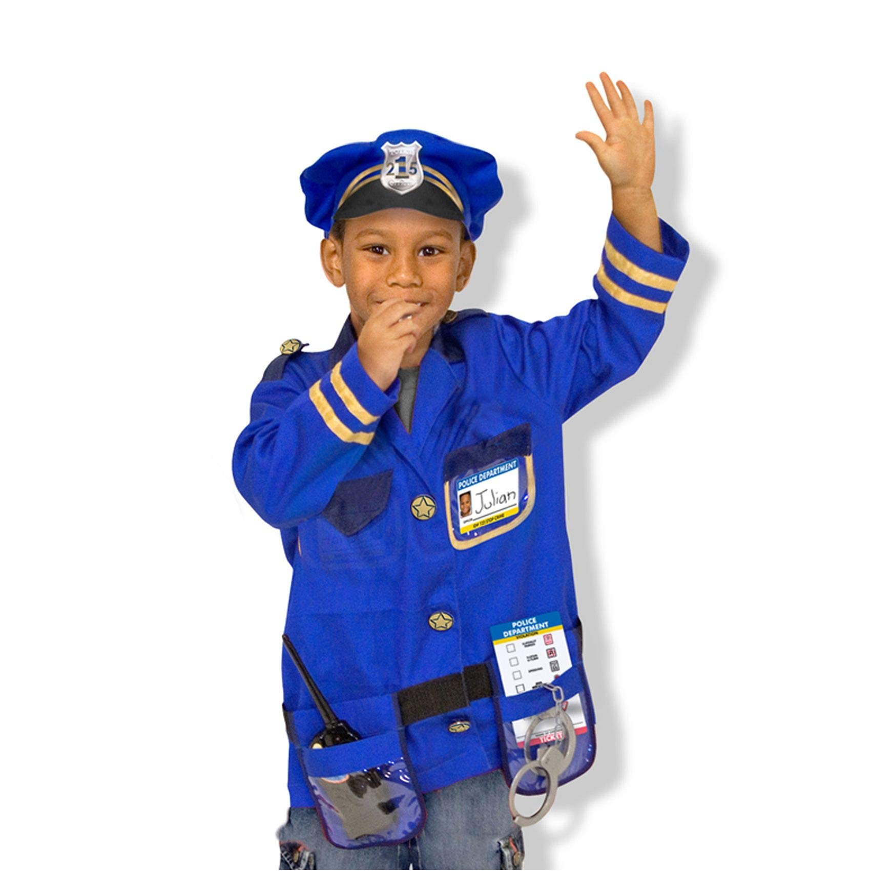 Melissa & Doug Police Officer Role-Play Costume Set, Pretend Play, Materials, Machine Washable, 17.5'' H x 24'' W x 0.75'' L