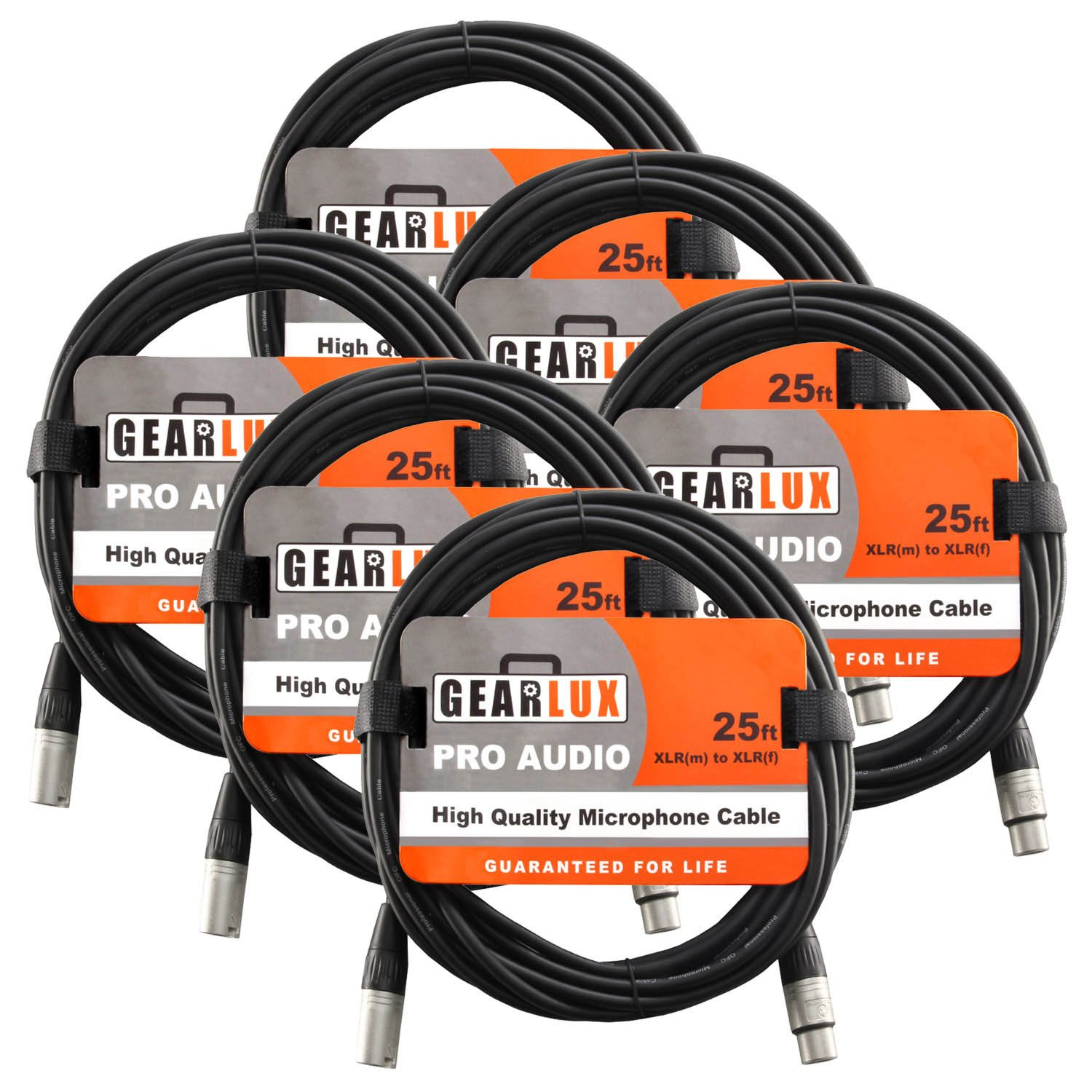 Gearlux XLR Microphone Cable, 25 Foot - 6 Pack