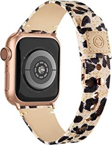 Compatible with Apple Watch Band 38mm 40mm 42mm 44mm for Women Men, Slim Fabric Canvas Band with Soft Leather Lining and Snap Button for Apple Watch Series 6/5/4/3/2/1 SE, Leopard 42/44mm