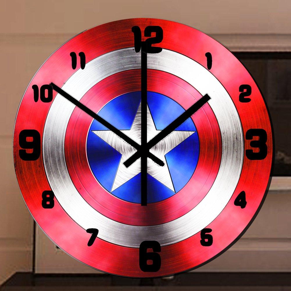 YOURNELO Cool Marvel Captain America Noiseless Wall Clock for Children (C)