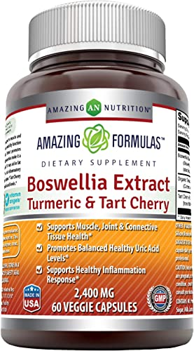 Amazing Formulas Boswellia Extract Turmeric Tart Cherry 2400mg Veggie Capsules Non GMO,Gluten Free -Supports Muscle, Joint Connective Tissue Health, Inflammation Response 60 Count