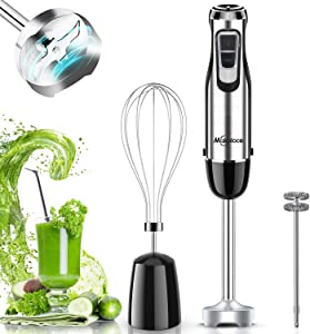Immersion Blender Handheld Makoloce Hand Blender 800W 10-Speed 3-in-1 Immersion Blender, Stick Blender With Egg Whisk, Milk Frother for Coffee Milk Foam, Smoothies, Puree Baby Food, Sauces and Soups