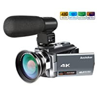Camera Camcorder, Ansteker 4K Ultra HD Video Camera Kit 48MP 16x Digital Zoom Camcorder with Infrared Night Vison,Remote Control, External Microphone and Wide Angle Lens, 3.0IN Rotation Touch Screen