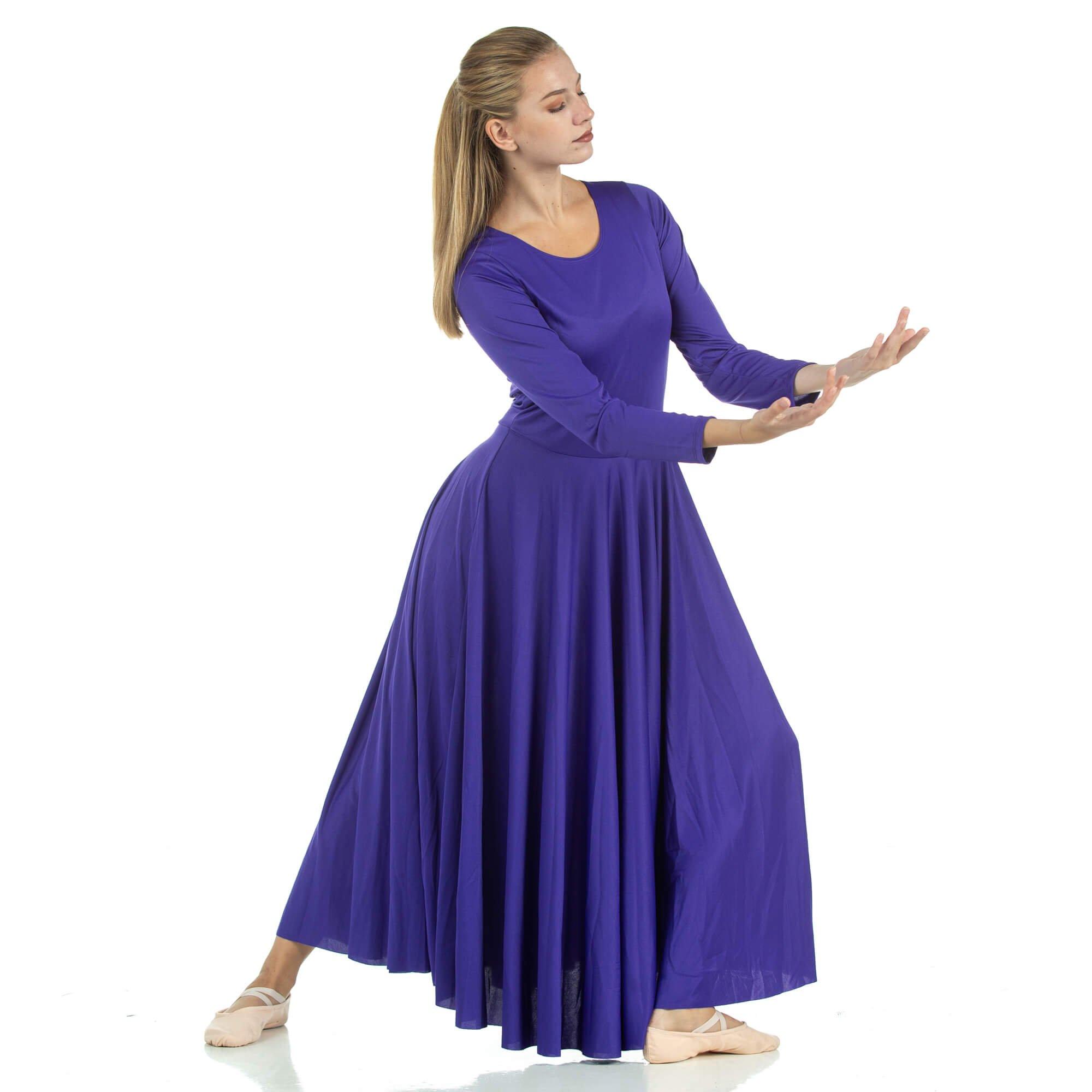 Danzcue Womens Praise Loose Fit Full Length Long Sleeve Dance Dress, Deep Purple, Small by Danzcue