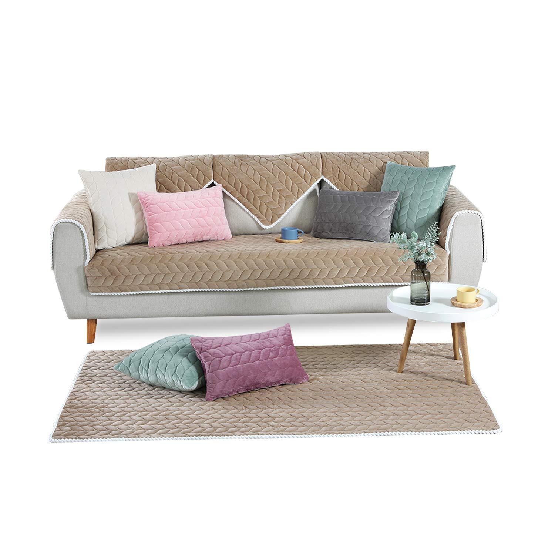 PETCUTE Fundas Sofa Chaise Longue Cubre Sofa Acolchado Fundas para Sofa sin Brazos Antideslizante Caqui 110X160cm