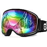 Odoland Lunettes de Ski antibrouillard Masque de Protection Snowboard étanche pour Enfants avec UV400 Protection pour Jours ensoleillés/Nuageux - Gris Lentille Double et sphérique