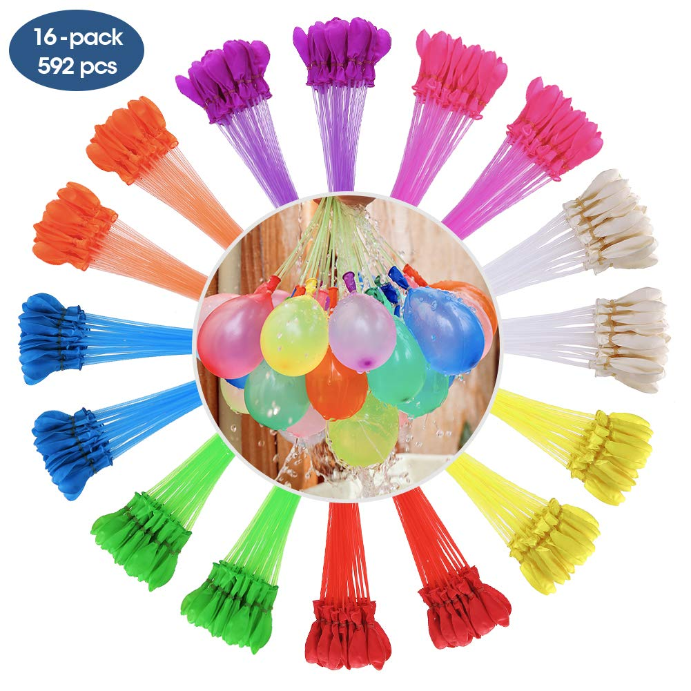 MAOXIAN Water Balloons for Kids Girls Boys Balloons Set Party Games Quick Fill Water Balloons (592 Pack) Swimming Pool Outdoor Summer Fun (Multicolored)