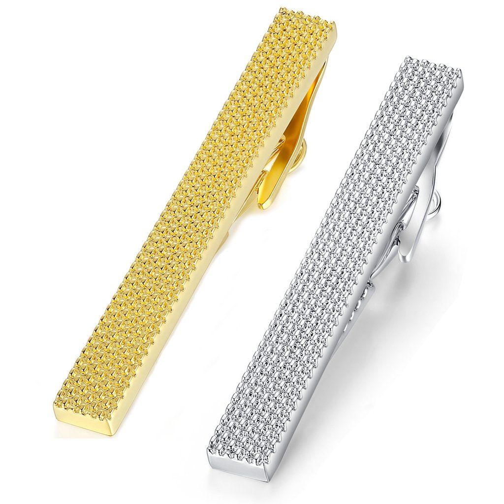 2pcs Set Honey Bear Mens Tie clips Bar- For Normal Size Tie, Business Wedding Gift (5.4cm,silver gold)