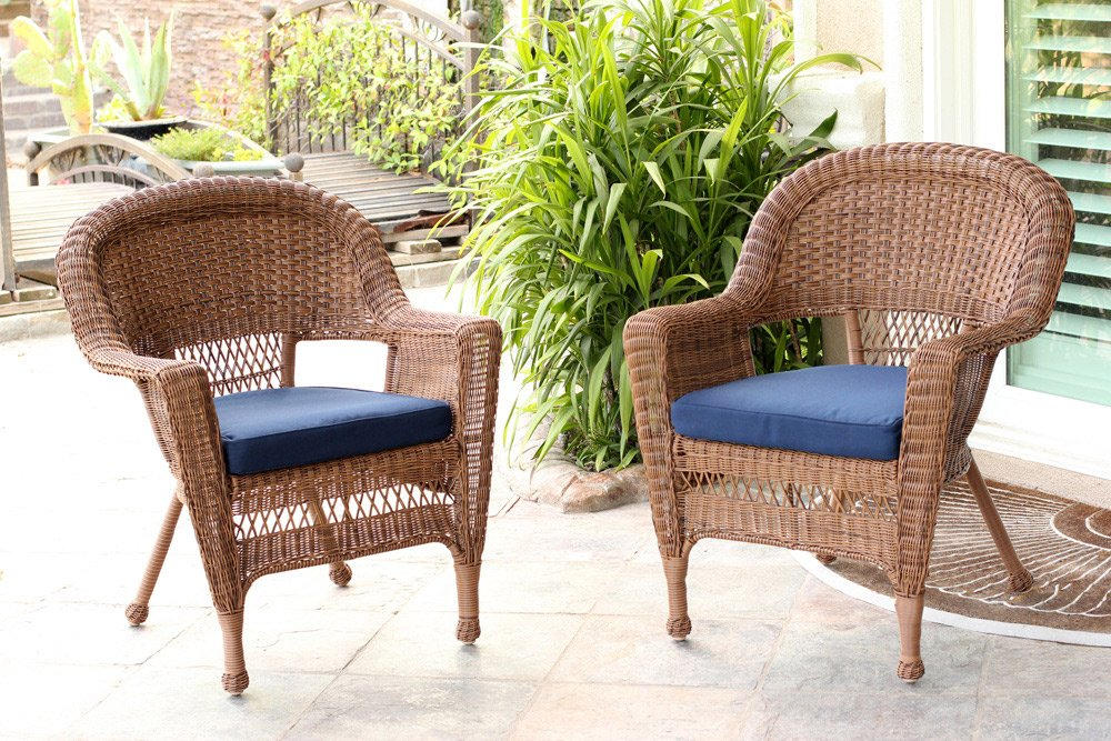 Jeco W00205-C_2-FS011-CS Wicker Chair with Blue Cushion, Set of 2, Honey/W00205- - All weather resin wicker Steel frame for extra durability Hose off and wipe clean - patio-furniture, patio-chairs, patio - 71aAHWF%2BQdL -