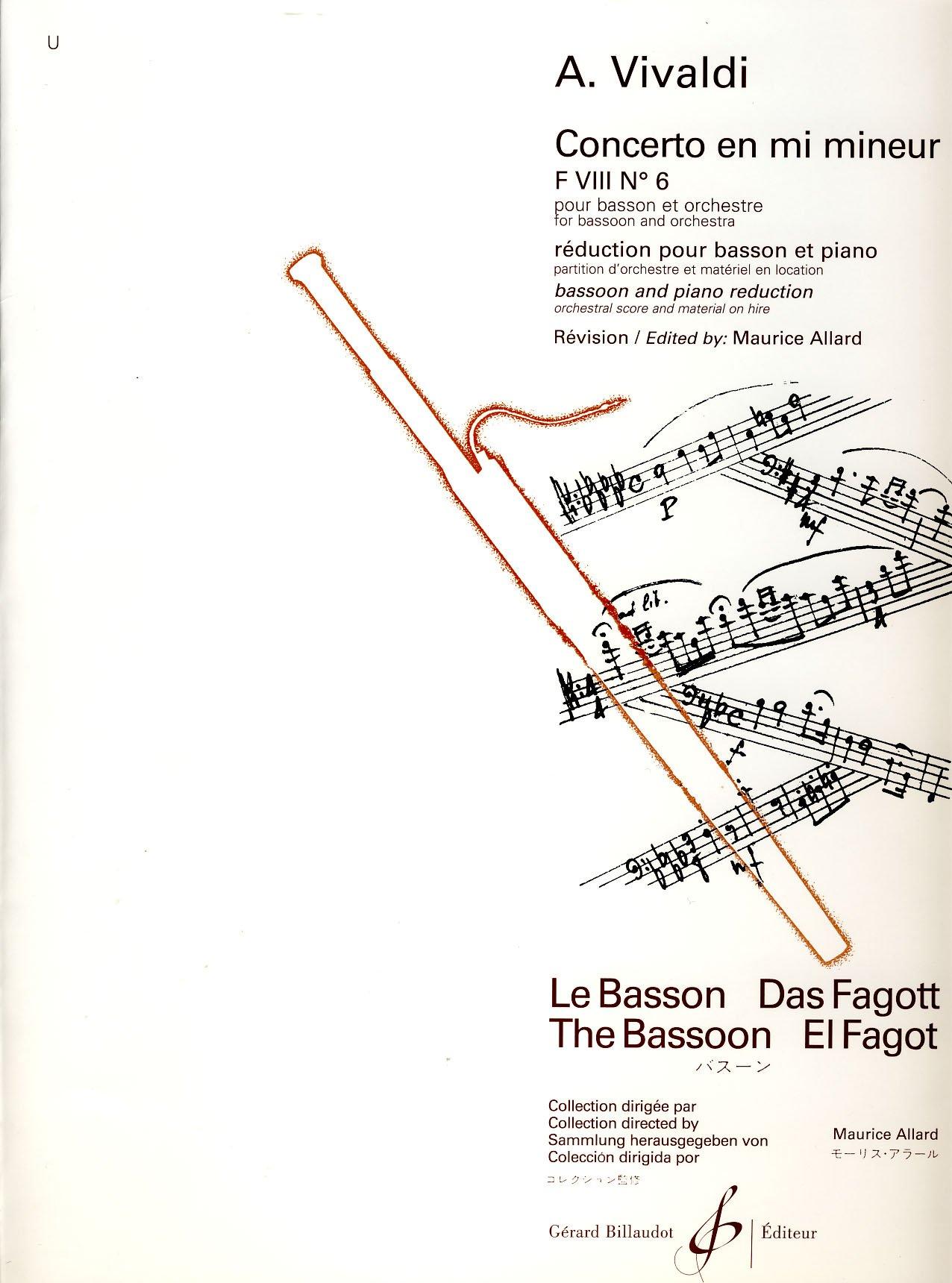 Concerto Fviii N 6 en Mi Mineur Broché – 1 janvier 2000 Vivaldi Antonio Billaudot 0043028802