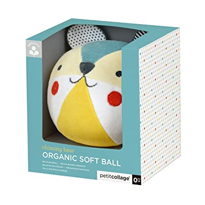Petit Collage Eco-Friendly Organic Cotton Baby Soft Chime Ball, Blue : Baby