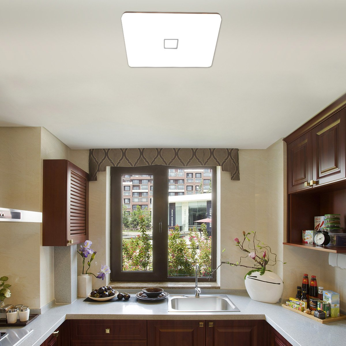 Öuesen LED 24W lámpara de techo resistente al agua moderna LED luz de techo Cuadrado delgada 2050lm regulable 3000K-5000K-4000K para baño ...