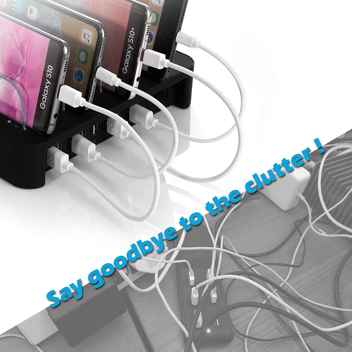 AirPods Includes 5 Cables BUT NO Power Supply Charger Pezin /& Hulin Bamboo Charging Stations for Multiple Devices Upgrade Desk Docking Station Organizer for Cell Phones iWatch Stand Tablet