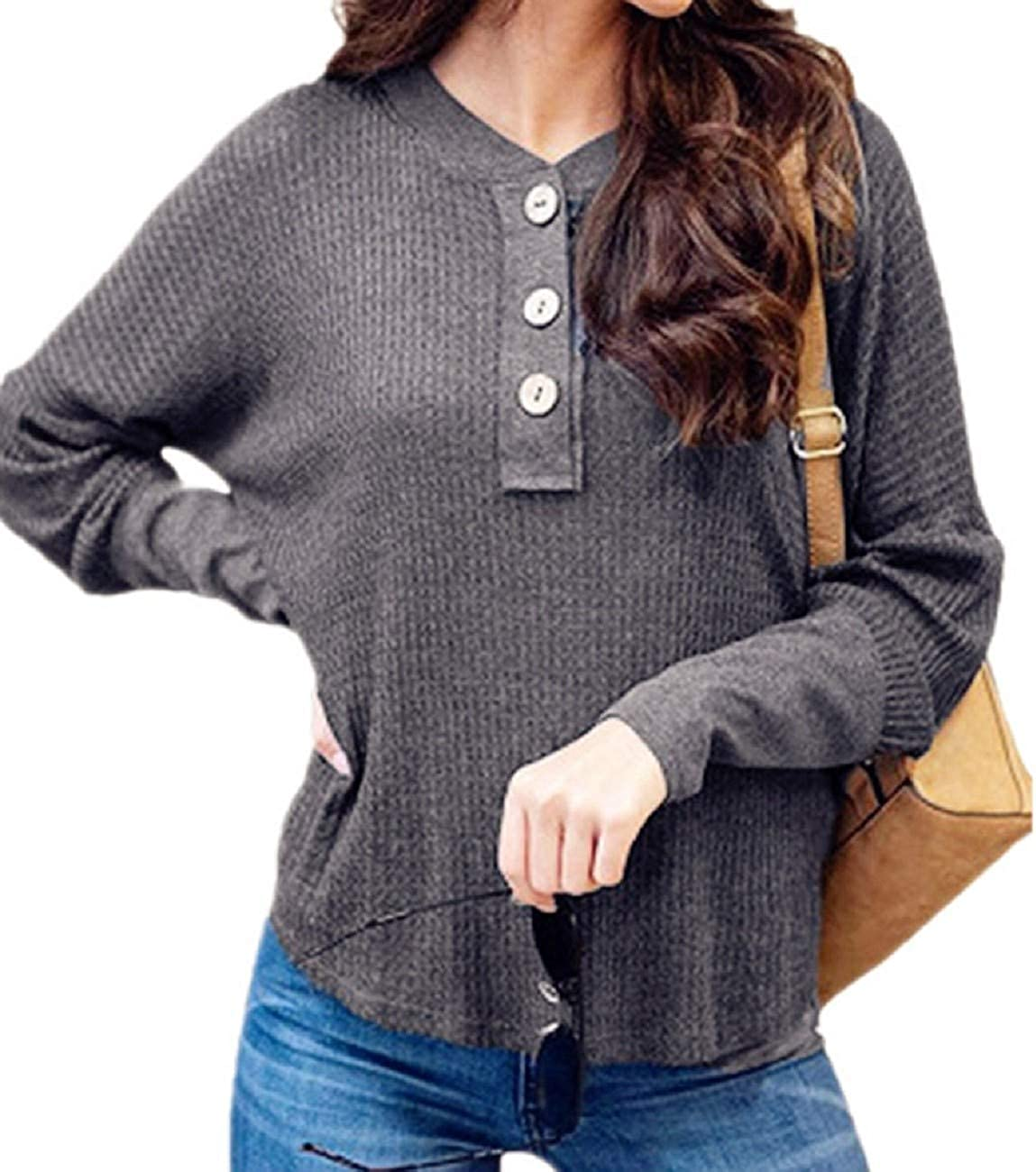 FAPIZI Womens Waffle Knit Tunic Tops Long Sleeve O Neck Button Solid Color Casual Tops Loose Bat Wing Plain Blouse