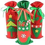 Christmas Wine Bottle Cover Holder Gift Bag Xmas Eve Dinner Table Decoration Pack of 3