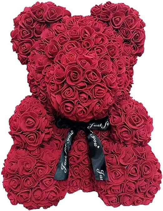 "Amazon.com: MSDMSASD Rose Bear Artificial Teddy Rose Bear Romantic Forever  Flower Anniversary Valentines Birthday Wedding Party Gift (Wine red, 10"")"