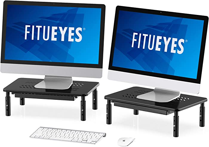 FITUEYES Metal Dual Monitor Stand Riser with 3 Height Adjustable Desktop for Laptop, PC, Ipad, Printer Display with Vented Metal Platform DT115902MB