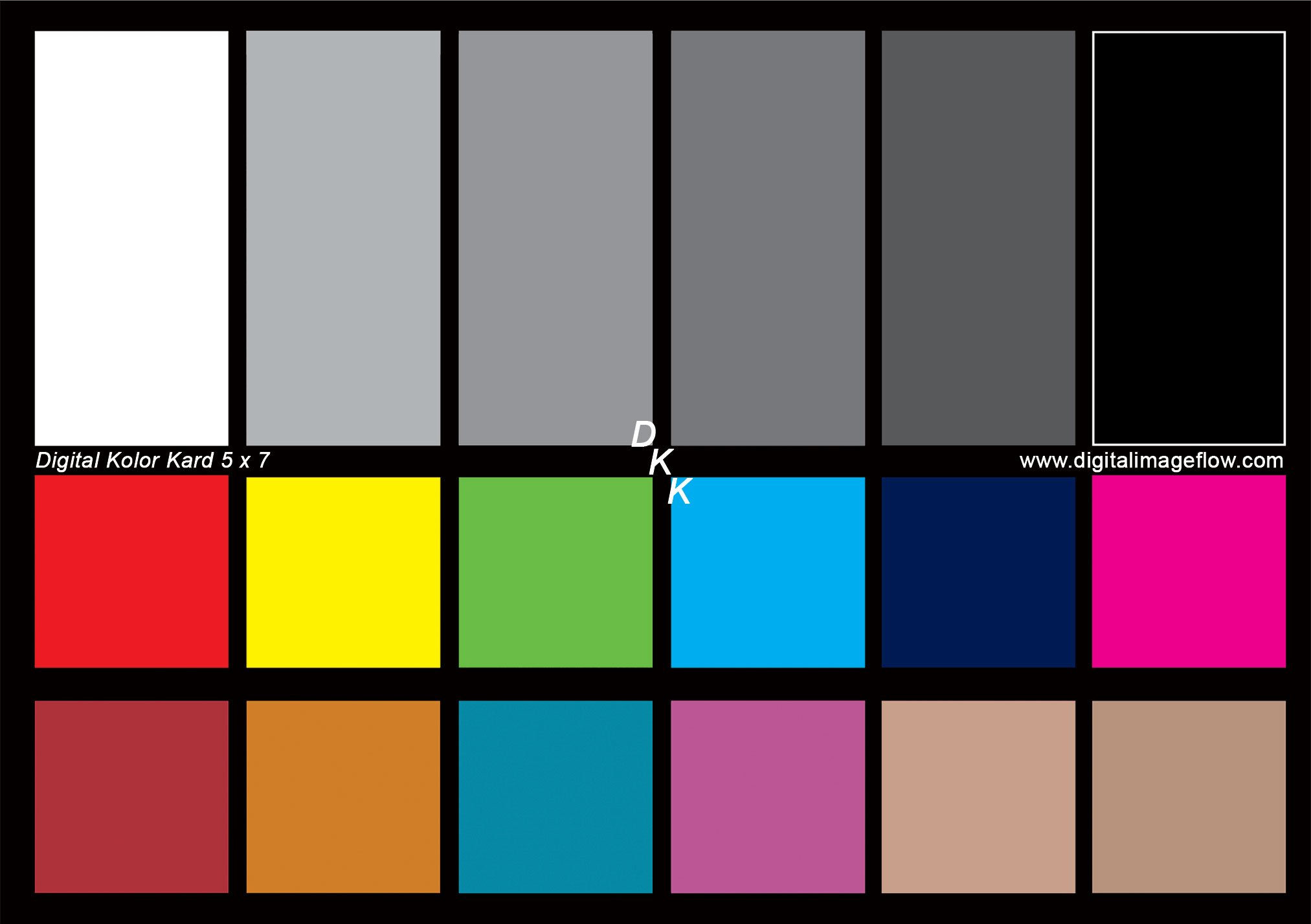 DGK Color Tools DKK 5'' x 7'' Set of 2 White Balance and Color Calibration Charts with 12% and 18% Gray - Includes Frame Stand and User Guide