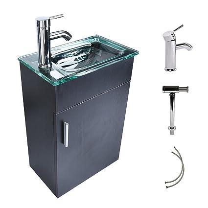 16 Inches Bathroom Vanity, Modern Lavatory Wall Mounted Vanity Set In  Black, Clear