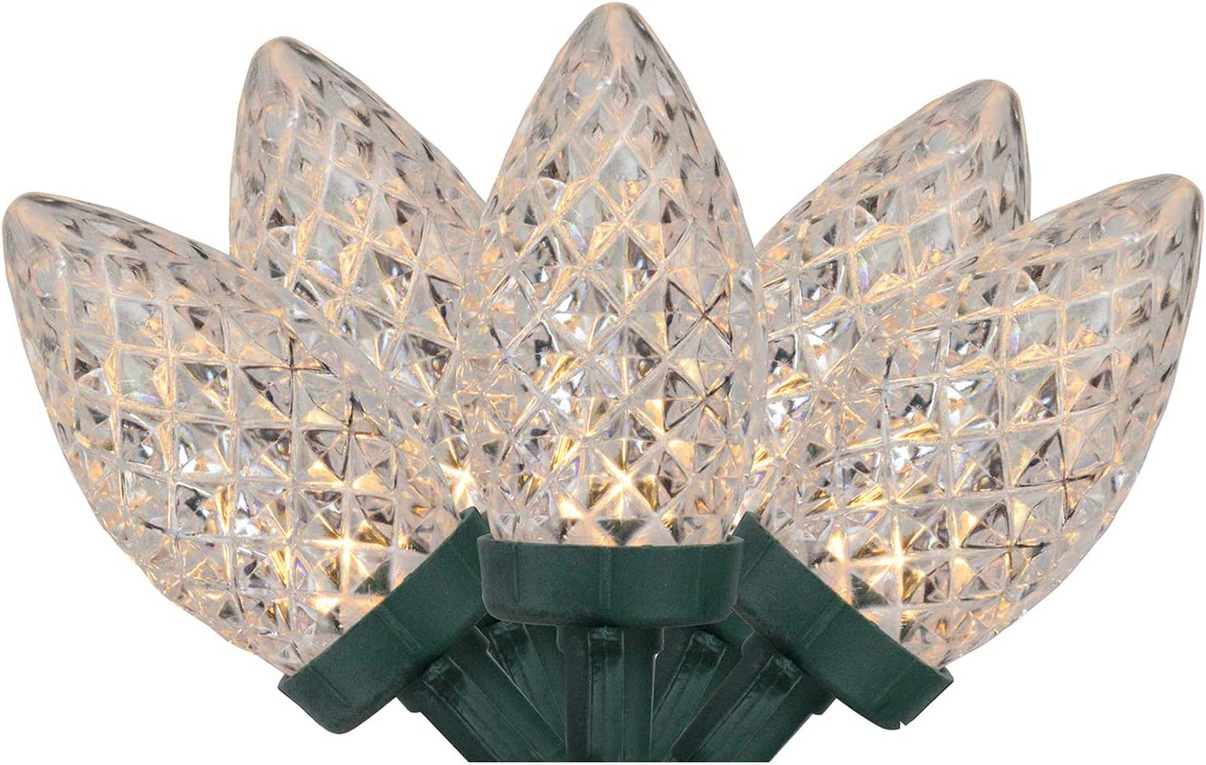 Northlight 100 Warm White Faceted LED C9 Christmas Lights - 66 ft Green Wire