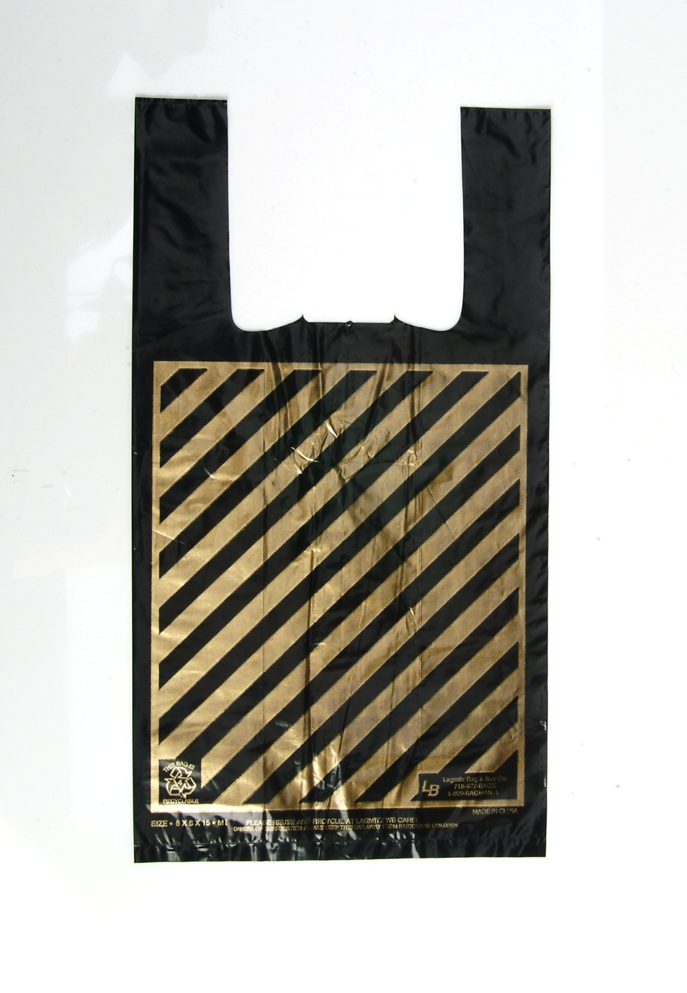 ''WOW..1 penny Shipping!!!''-Jumbo Bags, Size:17x8x30, 1.3 Mil, 1000 per case, Black Plastic Shopping Bags with Gold Stripes, 16.9 Cents Per Bag, $169.99 per case.