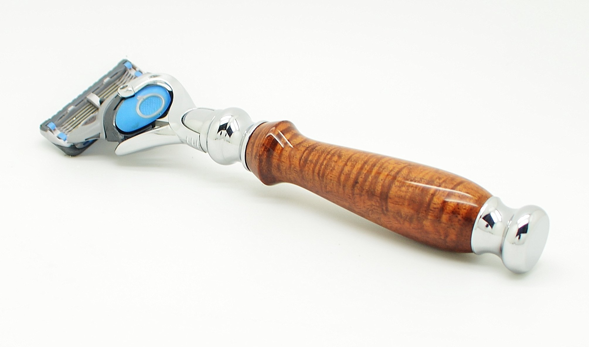 Orchid Isle~Fusion Flexball Proshield Shaving Razor FLEX 2~USA Handmade with~Master Grade Hawaiian Curly Koa*690