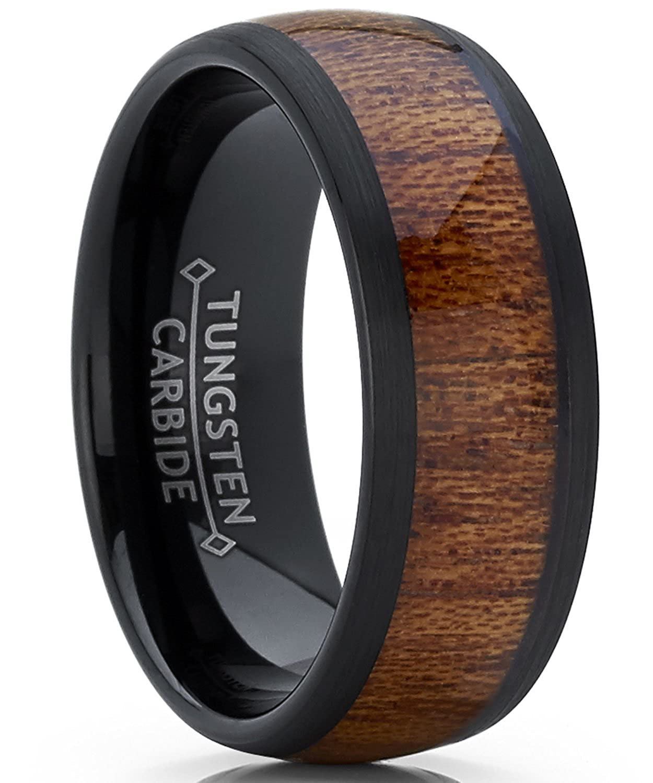 Metal Masters Co. 8mm Bague de mariage en tungstène noir avec incruste du bois. Anneaux de fiancailles en tungstène pour homme intérieur Confort WCRX-1360
