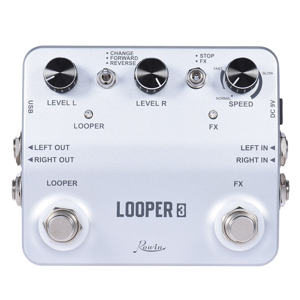 Andoer Rowin LOOPER3 Aluminum Alloy Guitar Effects Pedal Mono Stereo Input/ Output Sound Recording Surface Design with USB Cable Effect Pedal