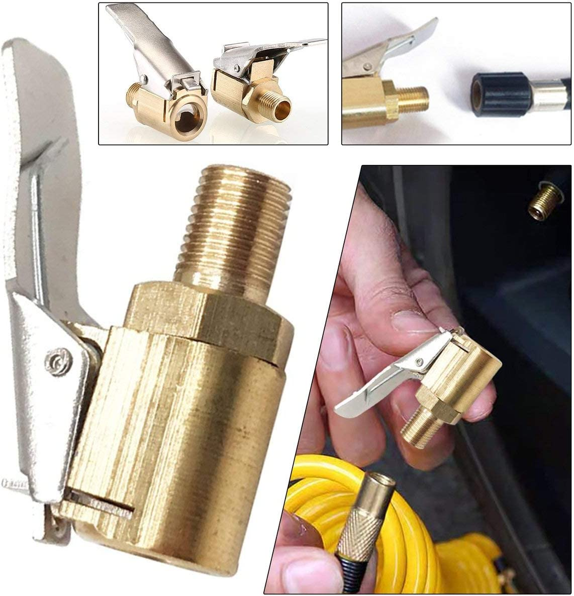 Inflatable Pump Fast Clip Tire Inflator Pure Copper Inflatable Chuck Threaded