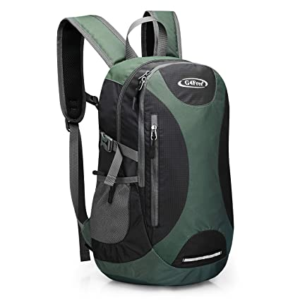 caea8cbb976 G4Free 25L Hiking Camping Backpack Water Resistant Green Black Daypack Bag  Pack with Chest Waist Strap