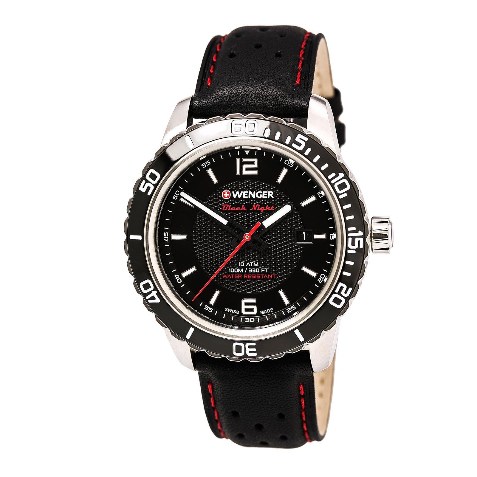 Wenger 01.0851.120 Men's Roadster Black Night Black Dial Black Leather Strap Watch