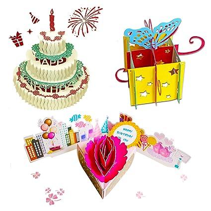Amazoncom 3d Pop Up Birthday Cards Greeting Handmade Birthday