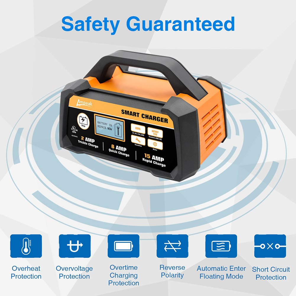 Ampeak 2 8 15a 12v Smart Battery Charger Maintainer Protection Circuit As Well 12 Volt Automatic With Winter Mode Automotive