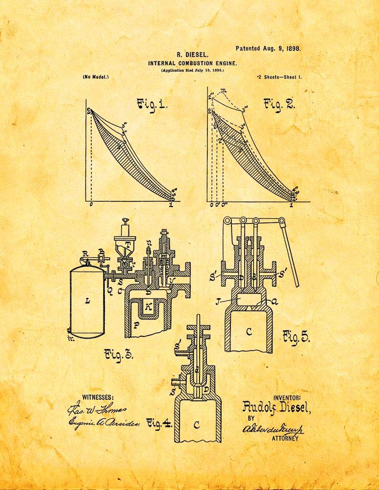 amazon com: internal combustion engine patent print golden look (11