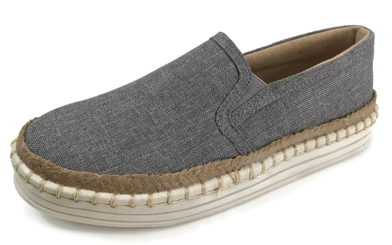 Fashion Slip On Sneakers with Jute Trim and Whip Stitch Canvas Linen B07CZ5DFXK 7 B(M) US|Grey