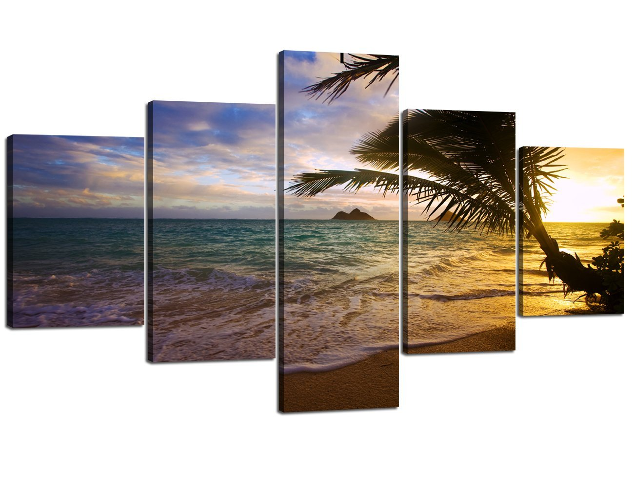 Ocean_29 Large Size Scene of Sea Waves Palm Tree Landscape Picture Modern Painting on Canvas 5 Piece Framed Wall Art for Living Room Bedroom Kitchen Home Decor Stretched Gallery Canvas Wrap Giclee Print (60''W x 32''H)